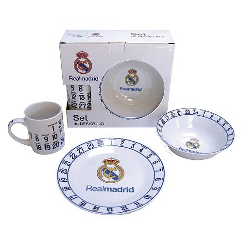 Real Madrid Set de Desayuno vajilla Talla /Única Unisex Adulto Blanco Blanco//Azul